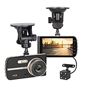 "NEX Dash Cam by, FHD 1080P 4"" LCD Dual Dashboard camera Front and Rear, Driving Video Recorder, Buit in G-Sensor, Motion, Loop Recorder"