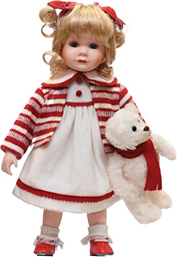 Northlight Porcelain Amanda with Teddy Bear Standing Collectible Christmas Doll, 14