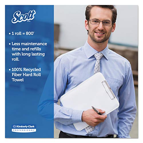 Scott 01052 Hard Roll Towels, 100% Recycled, 1.5'' Core, White, 8'' x 800ft (Case of 12 Rolls) by Scott (Image #4)