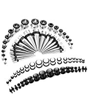 Finrezio 72PCS 14G-00G Ear Stretching Kit Tapers Plugs Gauges Set Body Piercing Jewelry Made of Surgical Stainlese Steel and Acrylic