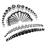 Finrezio 72PCS 14G-00G Ear Stretching Kit Tapers Plugs Gauges Set Jewelry Made of Surgical Stainlese Steel and Acrylic
