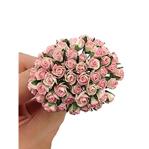 Paper flowers amazon 100 pc bright pink artificial flowers paper rose flower wedding card embellishment scrapbook craft product from thailand by wadsuwan shop mightylinksfo