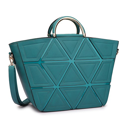 [Dasein Fashion Women's Geometric Triangle Pattern Satchel Handbag Weekender Tote w/ Metallic Top Handle & Removable Shoulder Purse Strap (Turquoise)] (Hinge Tote)