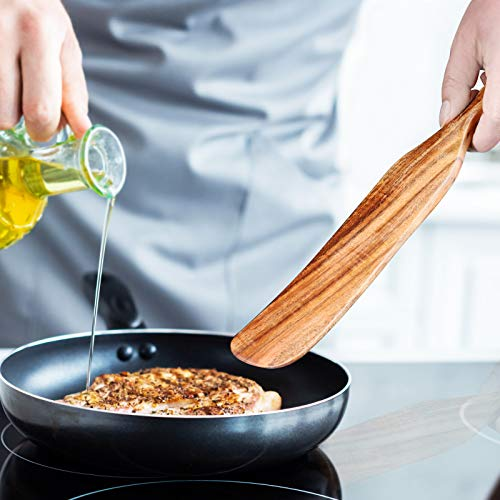 Wooden Cooking Spoons Spatula Set, Slotted Stirring Spatula with Hanging Hole for Stirring, Mixing and Cooking Heat Resistant Non Stick Wood Cookware, Cooking Utensil Tools