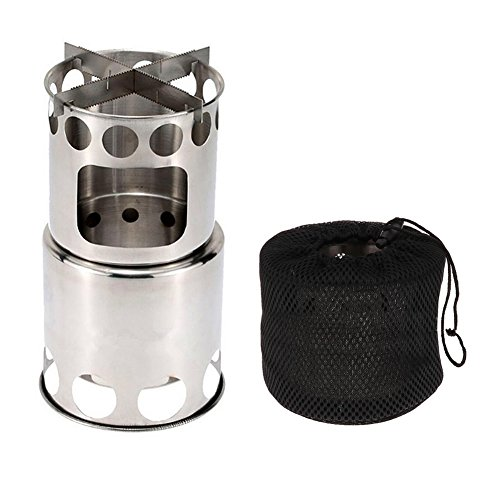 Yvonne Portable Camping Stove, Stainless Steel Wood Burning Stove, Updated Collapsible Lightweight Survival Backpacking Stove, for Outdoor Backpacking Hiking Traveling Picnic BBQ Fishing Climbing