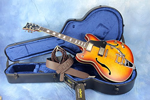 (Schecter Corsair Semi-Hollow Guitar with Strap, Cable, Capo and Hard Shell Case)