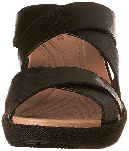 Crocs de las mujeres un Leigh Crisscross W Sandalias de cuña Negro/Negro