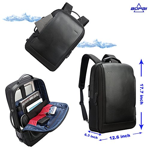 Bopai Business 15.6 inch Laptop Backpack Intelligent Increase Compartment Invisible Anti-theft Laptop Rucksack USB Charging and Water Resistant College Travel Men Backpack, Black by Bopai (Image #4)