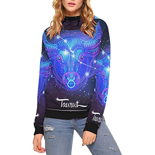 Lumos3DPrint Constellation Zodiac Sign Taurus Women's 3D Printed Turtleneck Pullover Hooded Sweatshirt