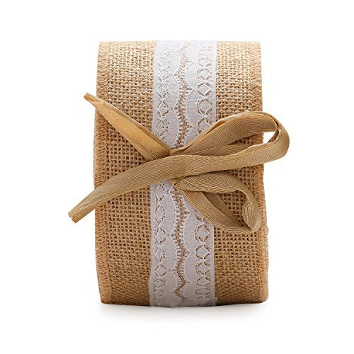 V'Decor Wide Burlap Ribbons Natural Jute Fabric Rustic Ribbon Roll for Favor Decoration DIY Handmade Craft Arts 10 Yards (Brown, 1) (10 Yard)