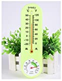 ALXDR Indoor Thermometer Hygrometer& Stick-on Thermometer& List Style Temperature Humidity Meter, White and Fluorescent green, Grass green
