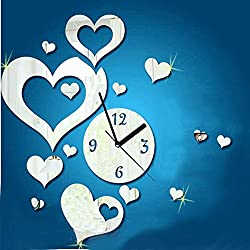 MAMaiuh 3D DIY Wall Clock Love Heart-Shaped Numbers Acrylic Mirror Modern Design Wall Sticker Clock Home Decor Mural Decals (Sliver)