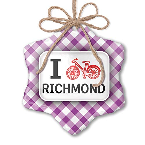 NEONBLOND Christmas Ornament I Love Cycling City Richmond Purple Plaid