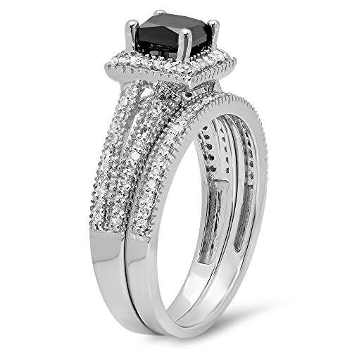 1.35 Carat (ctw) 14K Gold Princess Cut Black & Round White Diamond Split Shank Halo Engagement Ring Set