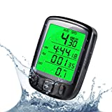 LESHP Cycle Computer Waterproof Cycling Bike Bicycle Speedometer Odometer with Green Backlight LCD Display Multi Function for Cycling Black