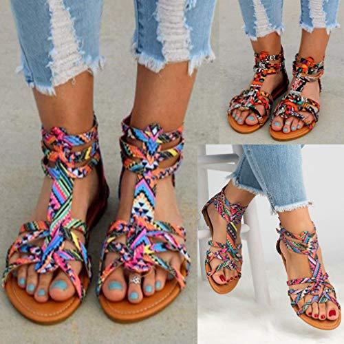 öffnen Schuhe Reißverschluss Candy Größe Damen Bohemian Sandalen Schuhe Farbe Zehensandalen Flache Sandalen Große Mode Lila Schnalle Hinten YZ6Zqz