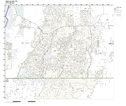 Map Of Spring Hill Florida.Amazon Com Zip Code Wall Map Of Spring Hill Fl Zip Code Map