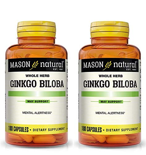 Mason Vitamins Ginkgo Biloba 500 mg 180 Gelatin Capsules per Bottle, Pack of 2 Bottles Total 360 Capsules