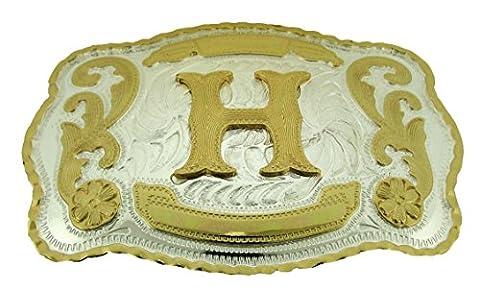H Initial Belt Buckle Rodeo Cowboy Western Letter B98 (Hebillas De Rodeo)
