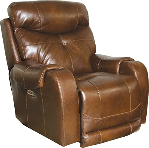Catnapper Venice Leather Touch Power Lumbar Lay Flat Recliner in Chestnut