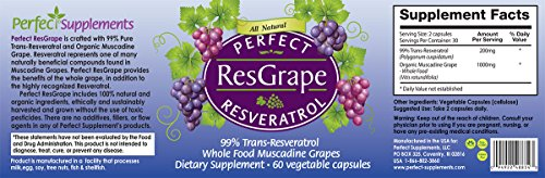 Perfect Resgrape Resveratrol 3 bottles - 99 Trans-resveratrol Whole Food Muscadine Grapes Discount