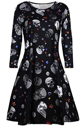 Stampare Svasati Vestito Mini Costume Le Halloween Smock pattinatore signore Donne Nero Gioiello Nuovo Scheletro Zucca Janisramone Swing Web Fancy Cranio 8nwz6xq7a