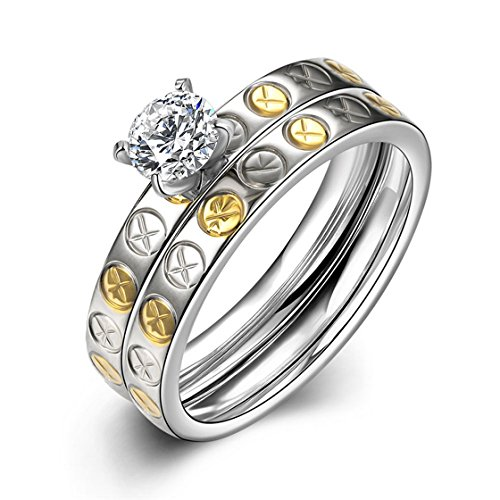 PSRINGS Set Gold Silver Diamond Stainless Steel Carter Screw Love Rings Set Engaget Set 7.0