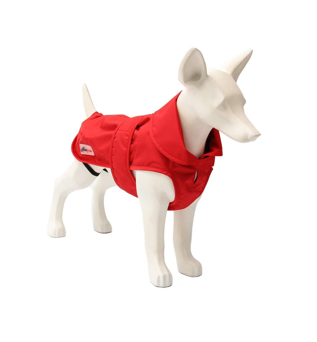 ASMPET Dog Jacket Warm Coats and Waterproof Jackets for Small, Medium and Large Dogs with Adjustable Magic Buckle to Fit Your Pet Dog (S(12''), Red) by ASMPET