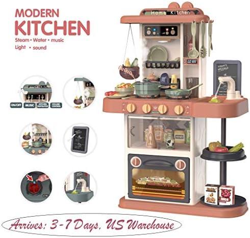 Erwazi Kids Kitchen Playset Kids Toddler Kitchen Cooking Toys Set Kitchen Pretend Home KitchenRealistic Cooking Scene Sound & Music Box Boiling & LightingFun (Brown)