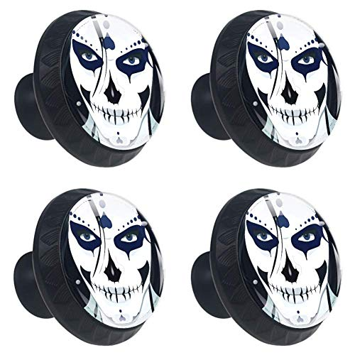 LORVIES Halloween Guy Makeup Style Drawer Knob Pull Handle Crystal Glass Circle Shape Cabinet Drawer Pulls Cupboard Knobs with Screws for Home Office Cabinet Cupboard (4 Pieces)