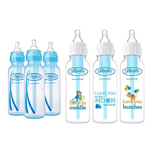 Dr. Browns Baby Bottles Boys 6 Pack - 3  Blue and 3  Clear B