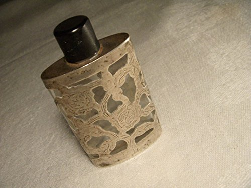 Antique Etched Sterling Silver Handmade Perfume Bottle Flask