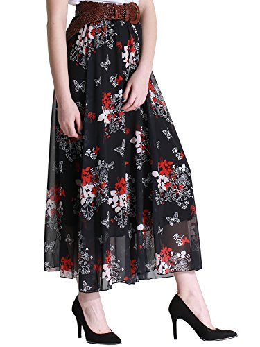 Florboom Summer Pleated Flowy Maxi Long Skirts for Women (Black, (Floral Lightweight Skirt)