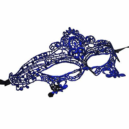 Mai Yi Stylish Lace Mask Catwoman Halloween Cosplay Masquerade, Blue, One (Cat Makeup Halloween Ideas)