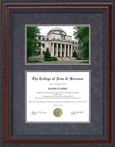 Diploma Frame with University of South Carolina Campus Lithograph - 11 x 14 vertical (portrait) diploma - Portrait Lithograph
