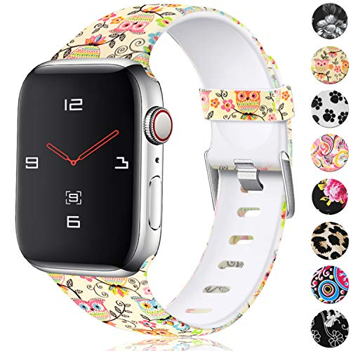 (KOLEK Waterproof Band Compatible with Apple Watch 4 3 2 1 42mm 44mm, Floral Strap for Fashionable Women Men, Owl Pattern, S/M)