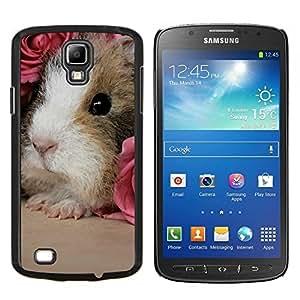 KLONGSHOP // Cubierta de piel con cierre a presión Shell trasero duro de goma Protección Caso - Hamster Guinea Pig Roedor Pink Roses lindo - Samsung Galaxy S4 Active i9295 //