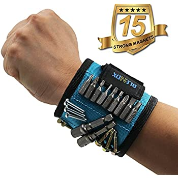 Magnetic Wristband, BLENDX Magnetic Wrist Band with Super Strong Magnets for Holding Screws, Nails, Drill Bits - Christmas Gift Unique Tool Band for men, women, handyman, Husband, Father, Guys, DIY-er