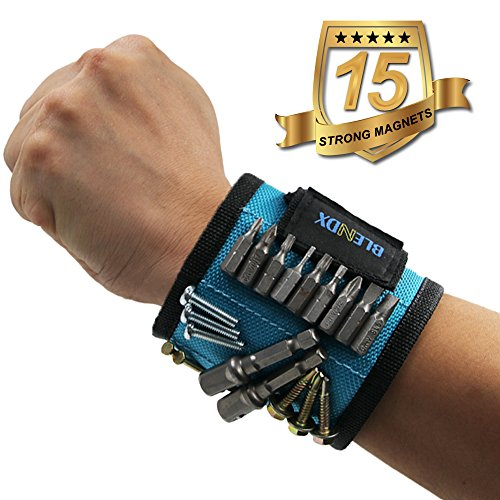 Magnetic Wristband, BLENDX Magnetic Wrist Band with Super Strong Magnets for Holding Screws, Nails, Drill Bits - Unique Gift Tool Band for men, women, handyman, Husband, Father, Guys, DIY-er (Guy Gifts)