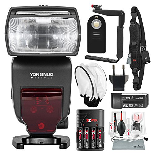 Yongnuo YN685 Wireless TTL Speedlite for Canon Cameras with Flash Bracket and Diffuser, DSLR Shoulder Strap, Xpix Cleaning Kit, and Deluxe Bundle