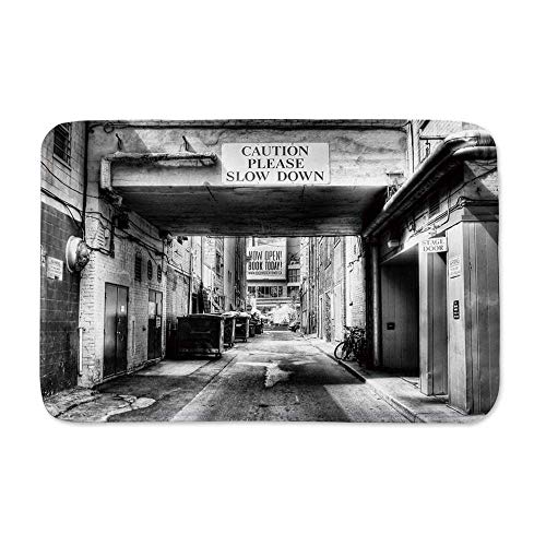 YOLIYANA City Durable Tough Doormats,Caution Please Slow Down Sign on Passage Town Old Fashion Urban District Scenery for Indoor Outdoor,23