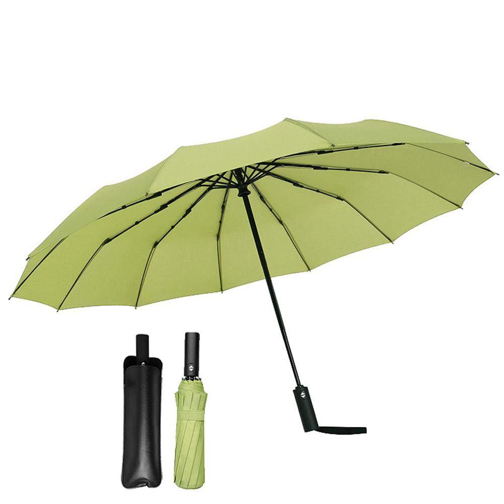 avec housse de parapluie en cuir Foonee Parapluie Pliant Ouverture et Fermeture automatiques Super Coupe-Vent et imperm/éable 12 Baleines en Fibre Solide et Tissu de Haute densit/é Vert