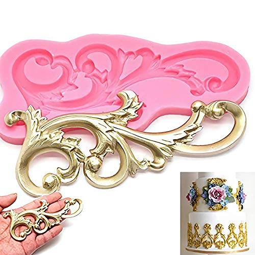 Vintage Relief Cake Fondant Mold - Curlicues Scroll Flourish Silicone Fondant Mold Sugarcraft Wedding Cake Decorating Tools Chocolate Molds ()