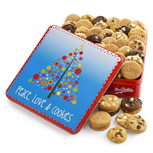 Baby Cookie Gift Basket - Mrs. Fields Peace, Love, and Cookies Nibblers Tin, (Pack of 60)