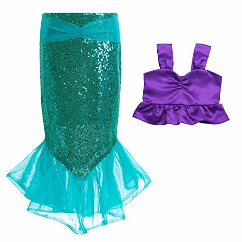 FEESHOW Toddler Girls Sequins Little Mermaid Tail Halloween Costumes Party Outfits Top with Skirt Purple Green 7-8 -
