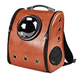 Pet Astronaut Bubble Backpack Cat Dog Puppy Carrier Travel Breathable Backpacks Bag Space Capsule for Outdoor (Brown)