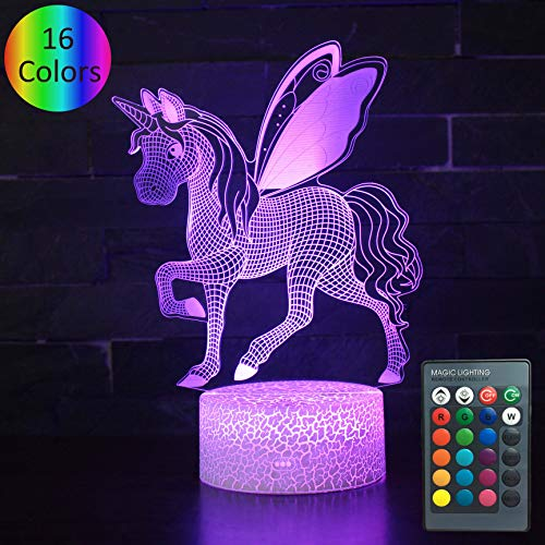 YOUNSH 3D Unicorn Light, 3D Unicorn Lamp Kids Night Light 16 Colors Changing with Smart Touch Remote Control Unicorn Party Supplies Kids Lamp As a Gift Idea for Girls Boys