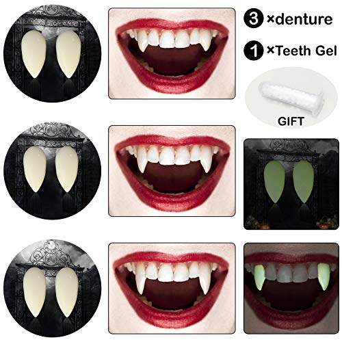 Jeicy Vampire Teeth -Luminous Vampire Teeth 3Pairs Fluorescent Dentures Great Party Favors for Cosplay Prop Halloween Decoration Props Costume Accessory(Includ Tooth Gel) -