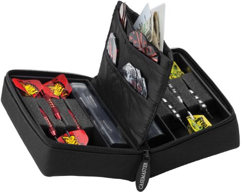 Casemaster Classic Nylon Dart Carrying Case for Steel and Soft Tip Darts, Holds 6 Darts Numerous Other Accessories via Generous Storage Pockets, Tubes and Boxes