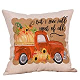 Pumpkin Pillow Covers 18X18 Autumn Decorative Wreath Fall Festival Letter Print Throw Pillows Cotton Sofa Couch Bed Car Cushion Pillow Cases Halloween Thanksgiving Harvest Home Decorations